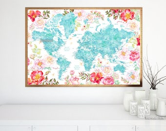 Floral world map etsy world map printable floral world map poster world map flowers watercolor world map gumiabroncs Images