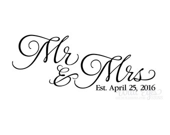 Mr and Mrs decal, vinyl decal, wall decal, wedding decal, master bedroom, wall lettering, Romantic, Mr and Mrs wall decor HH2058