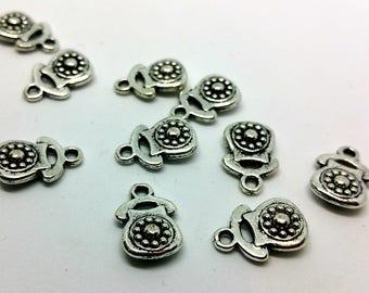 X 1 charm - Telephone Retro Vintage - silver metal