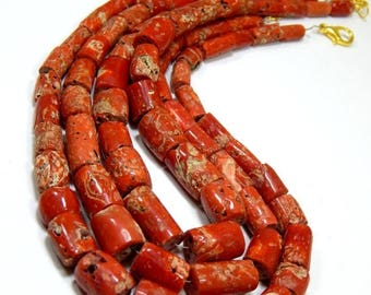 63% OFF CORAL /ITALIAN Old Red Coral Smooth Beads Tube Shape 6x8 To 11.5x16.5.mm 100 Percent Natural Top Quality Wholesale Price