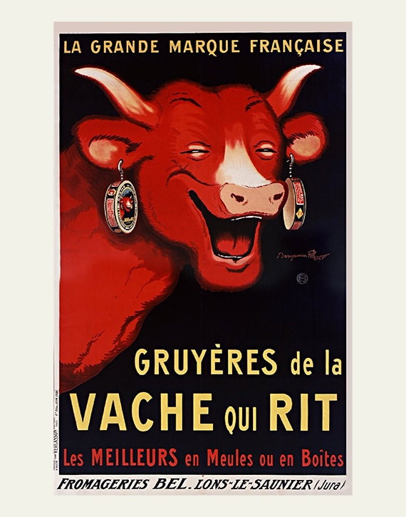 French Cheese Ad Laughing Cow Vintage Restaurant Art Bel Et Bon La Vache Qui Rit Red Food Poster CowCow Wall
