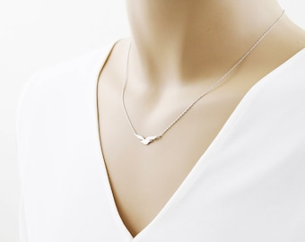 Tiny Gold Seagull Charm Necklace . Bridesmaid Necklace Bridesmaid Gift Birthday Gift Dainty and Delicate Necklace