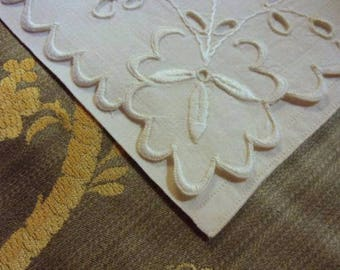 Old French antique linen hand embroidered linen napkin holder.