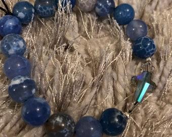 Crystal Balls and Blue Skies Swarovski Cross Beaded Bracelet