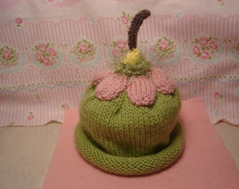 Infant Knitted Flower Cap  Baby Hat