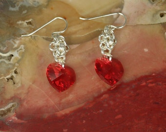 Earrings Sterling Silver Swarovski Heart Shaped Crystal Chainmaille Earrings