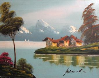 Vintage oil painting impressionist landscape lake signed