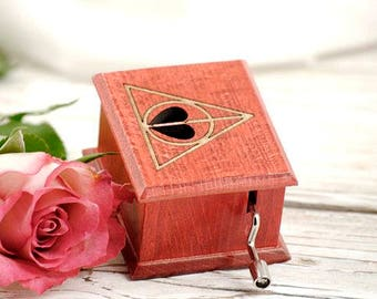 Harry Potter Deathly Hallows lovers heart music box  handmade wooden music box