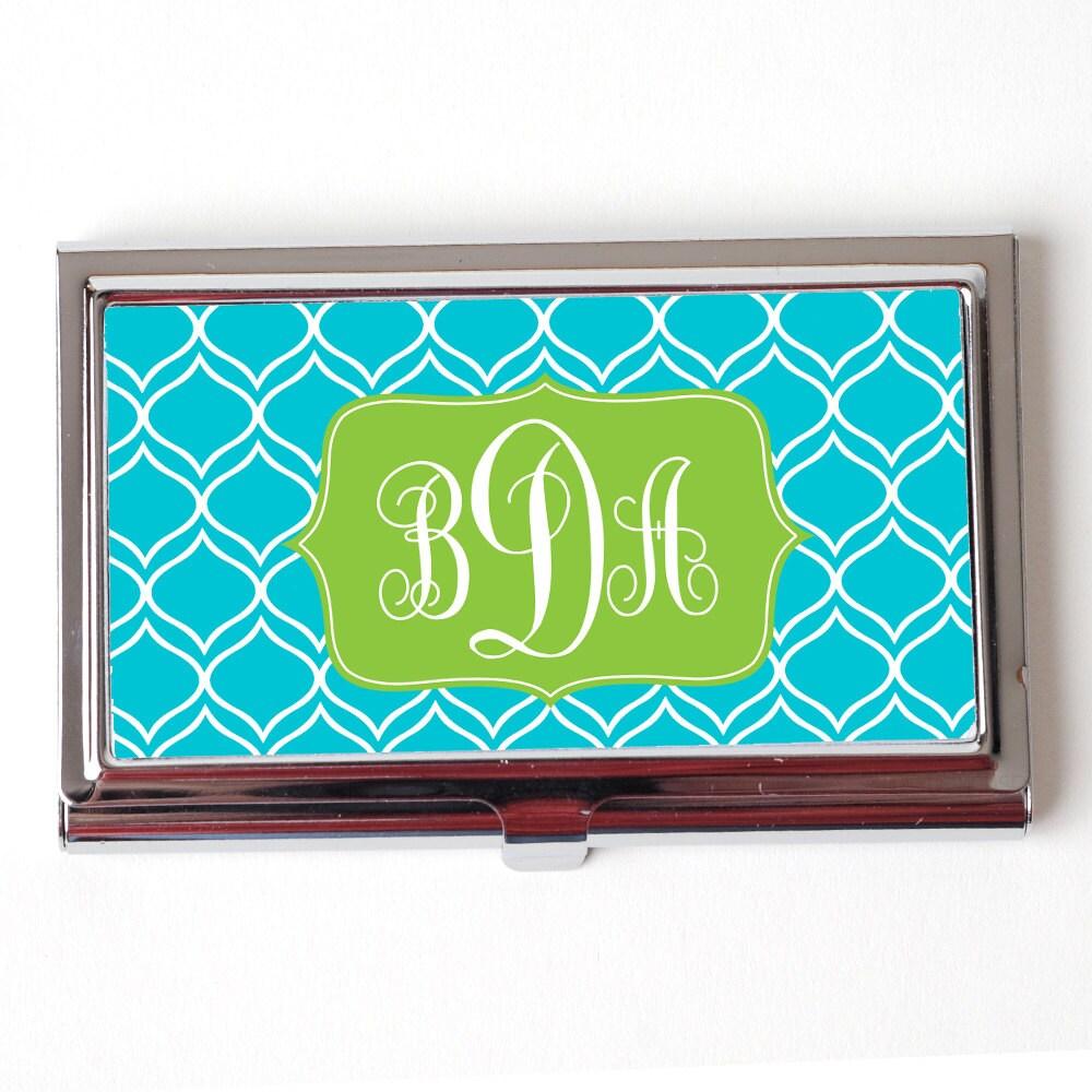 Elegant Turquoise Monogram Business Card Case Monogram