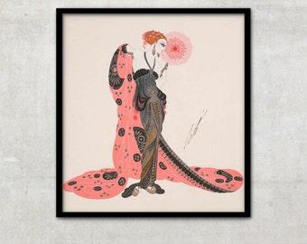"""Vintage Art Deco fashion illustration """"Aphrodite"""" by Georges Barbier, IL041."""