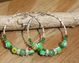 Italian Murano glass beads, Dangle Hoops, Green color