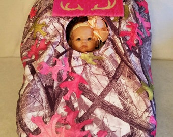"Car Seat Cover Sassy Girl White Camo Baby True Timber n Bright Pink Minky Lining Infant Hand Made Custom Embroidery ""My Little Dear"" Antlers"