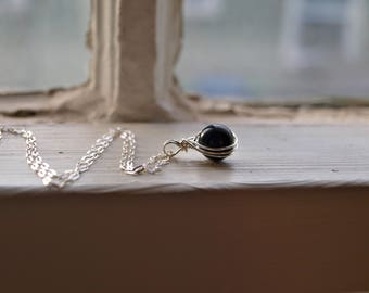 Round Black Tourmaline Necklace Small Black Tourmaline Necklace Dainty Healing Crystal Necklace Small Black Crystal Necklace Gift For Girl