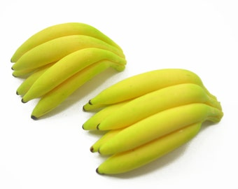 Dollhouse Miniatures Food 2 Bunches Of Banana Tropical Fruit Charms Supply Deco - 9550