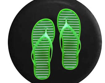 Green Flipflop Sandals in the Beach Jeep RV Camper Spare Tire Cover P320
