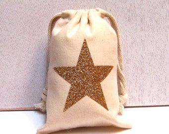 Set of 8 Star Glitter Muslin Favor Bags 4 x 6 5 x 8