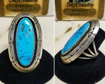 Large Navajo sterling silver and Kingman turquoise ring