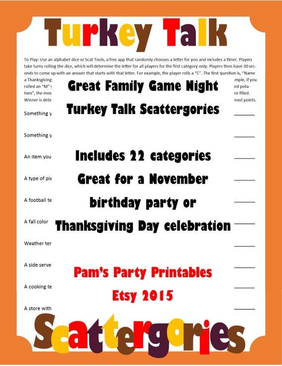 Thanksgiving Printable Games Bundle -Lot of 3 Games Taboo, Scattergories &  Family Talents Scavenger Hunt - Family Friendly Instand Download