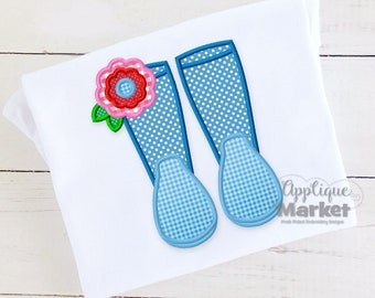 Machine Embroidery Design Embroidery Rain Boot Flower Satin Applique INSTANT DOWNLOAD