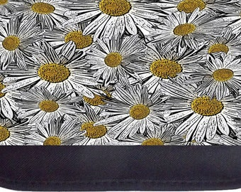 White and Yellow Daisies - Black Pencil Bag - Pencil Case