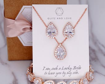 Rose Gold Wedding Bridesmaid Gift Bridal Earrings Necklace Bracelet Jewelry Set Clear Cubic Zirconia Teardrop Ear Stud, E108 B85 N221