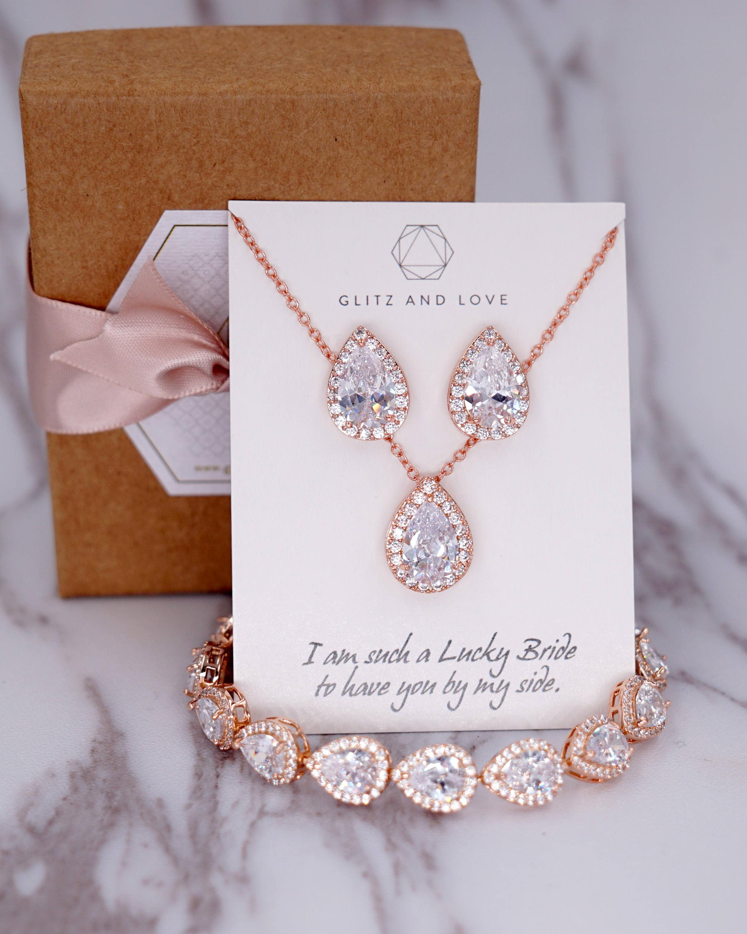 Rose Gold Wedding Bridesmaid Gift Bridal Earrings Necklace