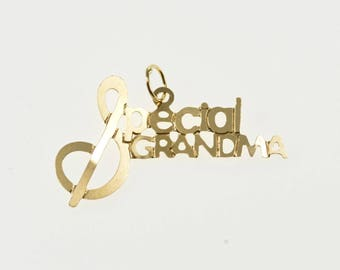 14K Special Grandma Grandmother Word Cut Out Charm/Pendant Yellow Gold