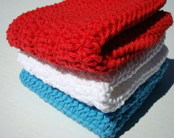 Three Cotton Washcloths, Wash Cloths - Patriotic Red, Bright White, Bright Blue Dishcloths - Crochet, Crocheted  Dish Cloths - Ready To Ship