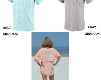 Monogrammed Fishing Shirts -- Checked Short Sleeves  /Cool Summer Shirt /Swimsuit Cover Up/ Bridesmaid Gift!