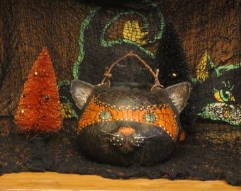 Paper mache Halloween Cat Basket
