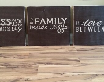 Large Bless the food before us the family beside us and the love between us large wood signs hand painted signs wall decor home dark brown