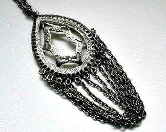 Medallion Pendant Necklace - Vintage Necklace - Large Pendant with Multi Hanging Chains - Retro Jewelry