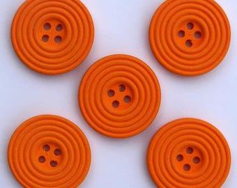 6 x wood Spiral 25 mm buttons: Orange - 02278