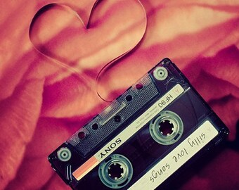mix tape love photography / valentine's day, 1980s, cassette tape, music, heart, romantic, red, coral, personalize / silly love songs / 8x8