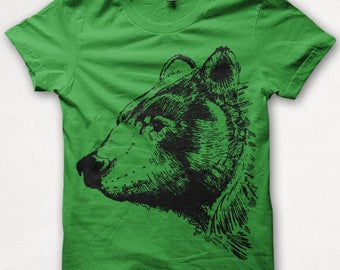 Kids Tshirt Black Bear Shirt T shirt Screenprinted - Grass Green