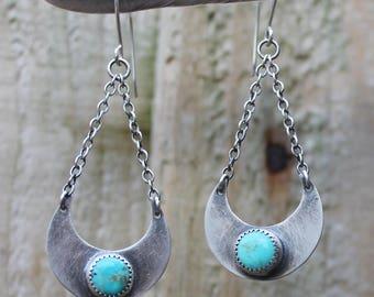 turquoise earrings, silver earrings, crescent moon earrings, turquoise, dangle earrings, turquoise silver, earrings, drop earrings, gift, UK