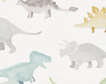 Watercolor Dinosaurs Organic Fabric - By The Yard - Boy / Girl / Gender Neutral