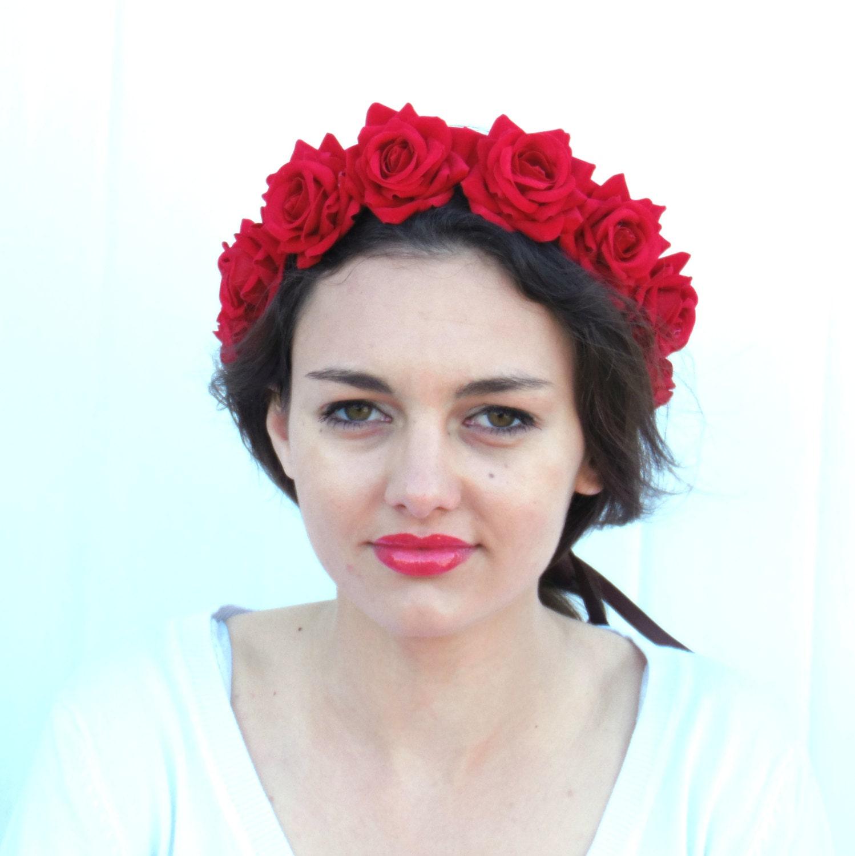 Day of the dead red flower crown bridal velvet rose zoom izmirmasajfo Images