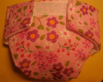 Cloth Doll diaper SIZE #2 ready to ship pink flowers  fits some Baby alive cabbage patch snackin sara stuffed animals and more