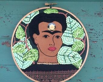 Frida Kahlo Hoop Art - Frida Kahlo Art - Mexican Folk Art Inspired - Embroidered Frida Kahlo Hoop with Sequins, Beads - Folk Art Gift