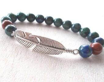 Mens Native American Jewelry, American Indian Jewelry, American Indian Bracelet, Silver Feather Boho Bracelet, Mens Chrysocolla Bracelet
