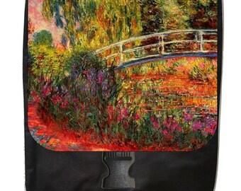 Claude Monet's Water Lilies-Water Irises - Large Black School Backpack