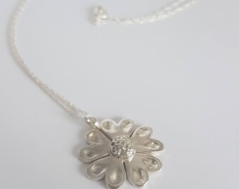 Silver flower pendant //5 petal solid silver flower necklace