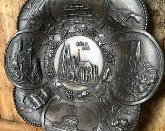 HOME DECOR... Koln-Souvenir, Zinn, Teller hängende, Plätze Denkmal Familie Vermächtnis