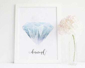 Diamond art gemstone print, gemstone painting, gem stones, gemstone art, gem print, gem art, painted stones, stone wall art, stone decor
