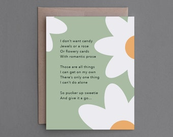 """Funny Anniversary, Love Card. For Boyfriend, Husband, Man, Him. Sexy, Hilarious, Snarky, Sarcastic, Naughty Card. """"Don't Want Candy"""" (CL007)"""