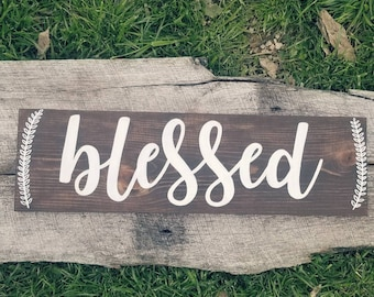 Blessed Wood Sign With Greenery Accents