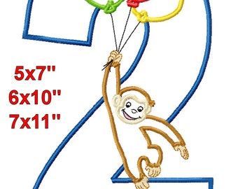 Monkey Balloons 2 Birthday Machine Embroidery Applique Digital Pattern 5x7 6x10 7x11 INSTANT DOWNLOAD