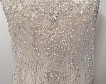 Beaded Applique, Rhinestone Wedding Applique, Bridal Applique, Rhinestone Tulle, Beaded Tulle