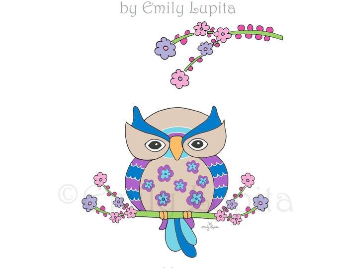 "Illustration Art Print ""Midnight Owl"" / Bird Portrait Wall Art / Nursery New Baby / Baby Shower Gift / Animal Artwork"